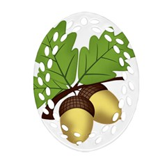 Acorn Hazelnuts Nature Forest Oval Filigree Ornament (two Sides)