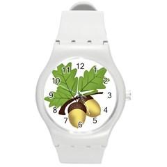 Acorn Hazelnuts Nature Forest Round Plastic Sport Watch (m)