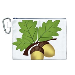 Acorn Hazelnuts Nature Forest Canvas Cosmetic Bag (l)