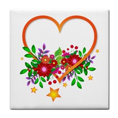 Heart Flowers Sign Tile Coasters