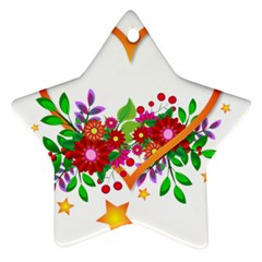 Heart Flowers Sign Ornament (star)