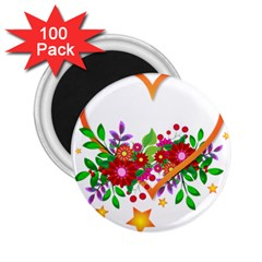 Heart Flowers Sign 2 25  Magnets (100 Pack)