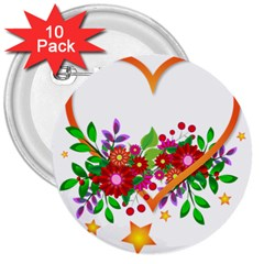 Heart Flowers Sign 3  Buttons (10 pack)
