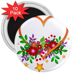 Heart Flowers Sign 3  Magnets (10 Pack)