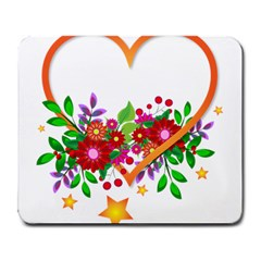 Heart Flowers Sign Large Mousepads