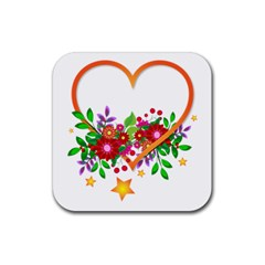 Heart Flowers Sign Rubber Square Coaster (4 Pack)