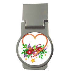 Heart Flowers Sign Money Clips (round)