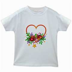Heart Flowers Sign Kids White T Shirts