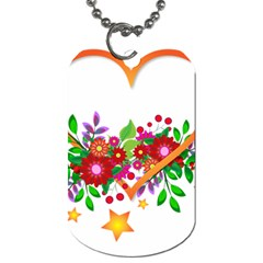 Heart Flowers Sign Dog Tag (One Side)