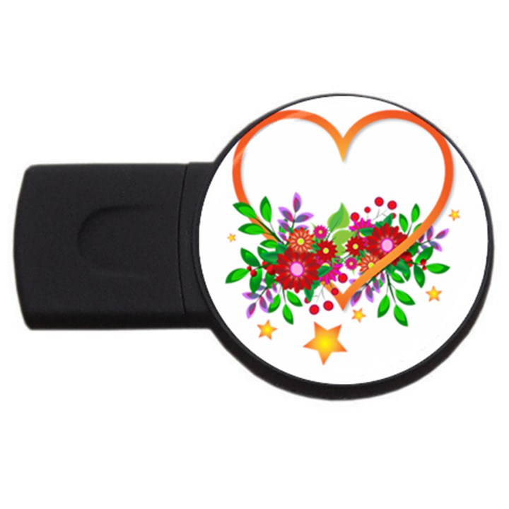Heart Flowers Sign USB Flash Drive Round (2 GB)