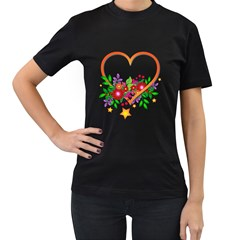 Heart Flowers Sign Women s T Shirt (black) (two Sided)