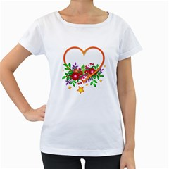 Heart Flowers Sign Women s Loose-Fit T-Shirt (White)