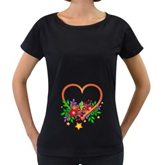 Heart Flowers Sign Women s Loose Fit T Shirt (black)