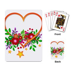 Heart Flowers Sign Playing Card