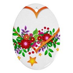 Heart Flowers Sign Oval Ornament (two Sides)