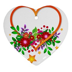 Heart Flowers Sign Heart Ornament (two Sides)