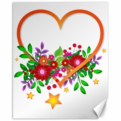 Heart Flowers Sign Canvas 16  X 20