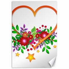 Heart Flowers Sign Canvas 20  X 30