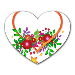Heart Flowers Sign Heart Mousepads