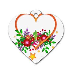 Heart Flowers Sign Dog Tag Heart (One Side)