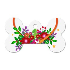 Heart Flowers Sign Dog Tag Bone (One Side)