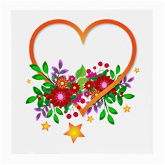 Heart Flowers Sign Medium Glasses Cloth