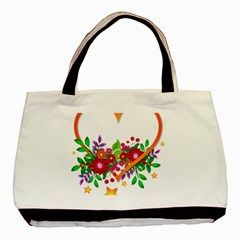 Heart Flowers Sign Basic Tote Bag (two Sides)