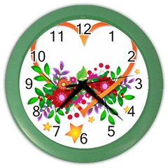 Heart Flowers Sign Color Wall Clocks