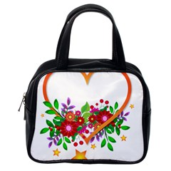 Heart Flowers Sign Classic Handbags (One Side)