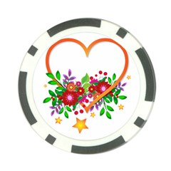 Heart Flowers Sign Poker Chip Card Guard (10 Pack)