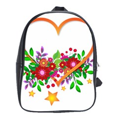 Heart Flowers Sign School Bags(Large)