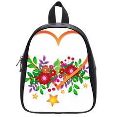 Heart Flowers Sign School Bags (small)