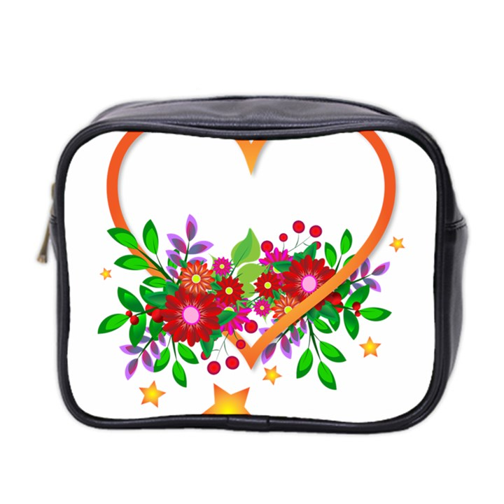 Heart Flowers Sign Mini Toiletries Bag 2-Side
