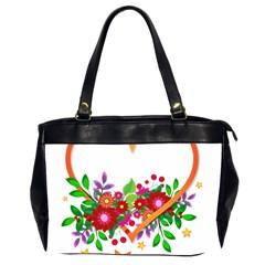 Heart Flowers Sign Office Handbags (2 Sides)