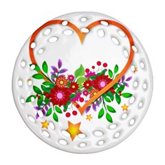 Heart Flowers Sign Round Filigree Ornament (two Sides)