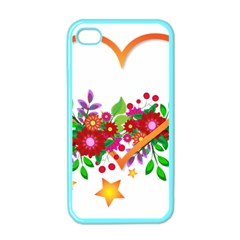 Heart Flowers Sign Apple Iphone 4 Case (color)