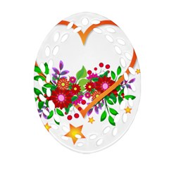 Heart Flowers Sign Oval Filigree Ornament (two Sides)