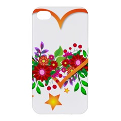 Heart Flowers Sign Apple iPhone 4/4S Premium Hardshell Case