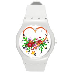 Heart Flowers Sign Round Plastic Sport Watch (M)