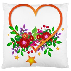 Heart Flowers Sign Large Cushion Case (Two Sides)
