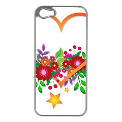 Heart Flowers Sign Apple iPhone 5 Case (Silver)