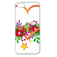 Heart Flowers Sign Apple Seamless iPhone 5 Case (Clear)
