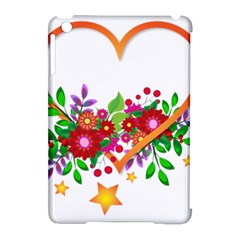 Heart Flowers Sign Apple iPad Mini Hardshell Case (Compatible with Smart Cover)