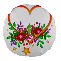 Heart Flowers Sign Large 18  Premium Round Cushions