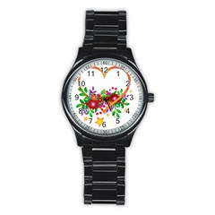 Heart Flowers Sign Stainless Steel Round Watch