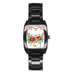 Heart Flowers Sign Stainless Steel Barrel Watch