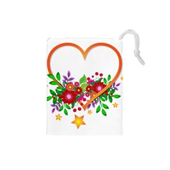 Heart Flowers Sign Drawstring Pouches (small)