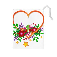 Heart Flowers Sign Drawstring Pouches (large)