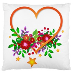 Heart Flowers Sign Large Flano Cushion Case (two Sides)