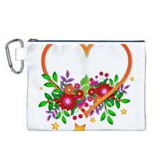 Heart Flowers Sign Canvas Cosmetic Bag (l)